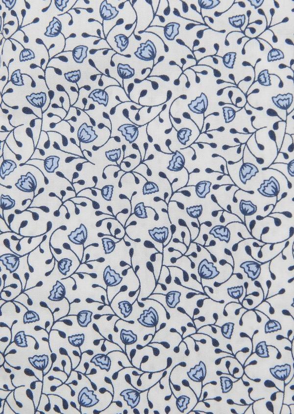 Chemise sport Slim en popeline de coton à motif fleuri bleu - Father and Sons 5554