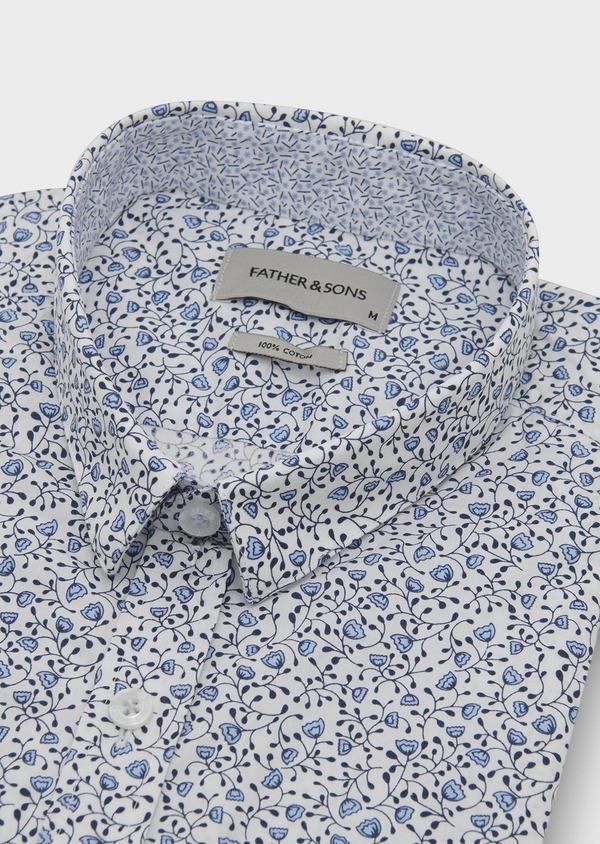 Chemise sport Slim en popeline de coton à motif fleuri bleu - Father and Sons 5555