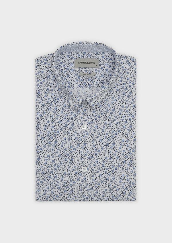 Chemise sport Slim en popeline de coton à motif fleuri bleu - Father and Sons 5553