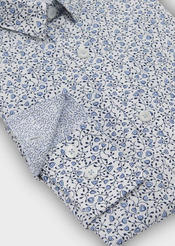 Chemise sport Slim en popeline de coton à motif fleuri bleu - Father and Sons 5556