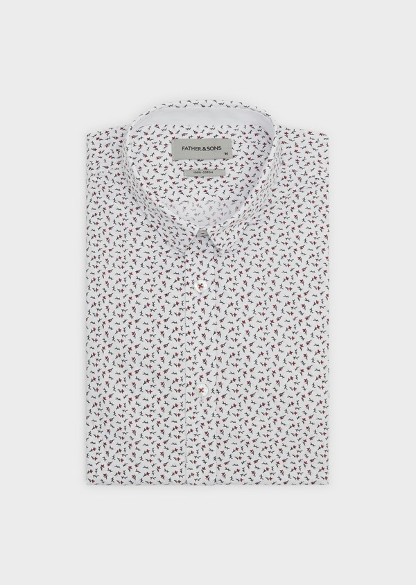 Chemise sport Slim en popeline de coton à motif feuri rouge et gris - Father and Sons 5581
