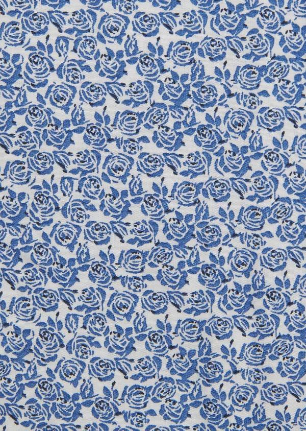 Chemise sport Slim en popeline de coton à motif fleuri bleu et noir - Father and Sons 5603
