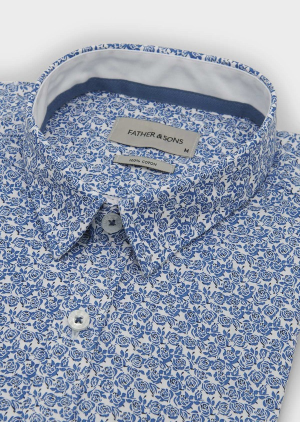 Chemise sport Slim en popeline de coton à motif fleuri bleu et noir - Father and Sons 5604
