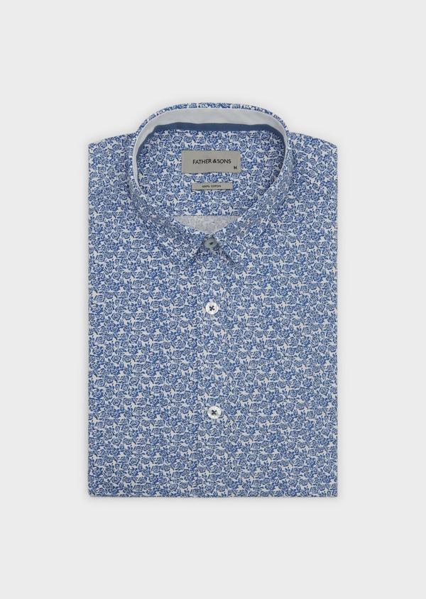 Chemise sport Slim en popeline de coton à motif fleuri bleu et noir - Father and Sons 5602