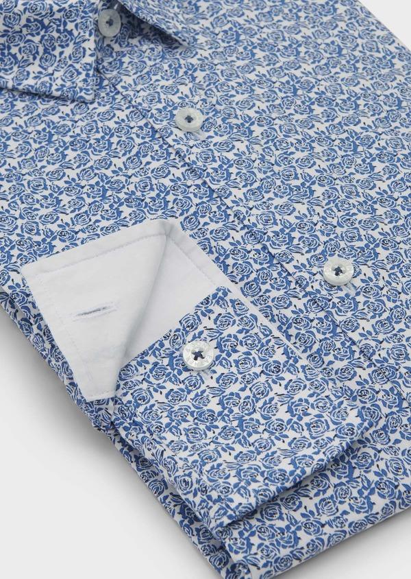 Chemise sport Slim en popeline de coton à motif fleuri bleu et noir - Father and Sons 5605