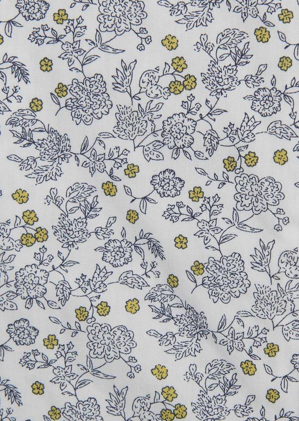 Chemise sport Slim en popeline de coton à motif fleuri bleu et jaune - Father and Sons 5610