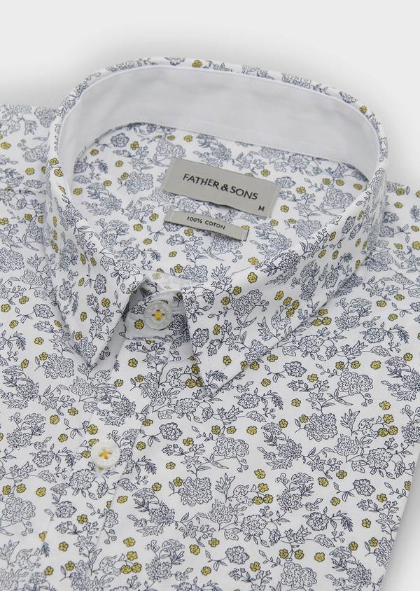 Chemise sport Slim en popeline de coton à motif fleuri bleu et jaune - Father and Sons 5611