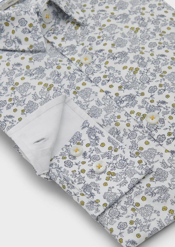 Chemise sport Slim en popeline de coton à motif fleuri bleu et jaune - Father and Sons 5612