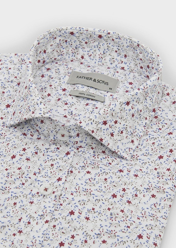 Chemise sport Slim en popeline de coton à motif feuri bleu et rose - Father and Sons 5625