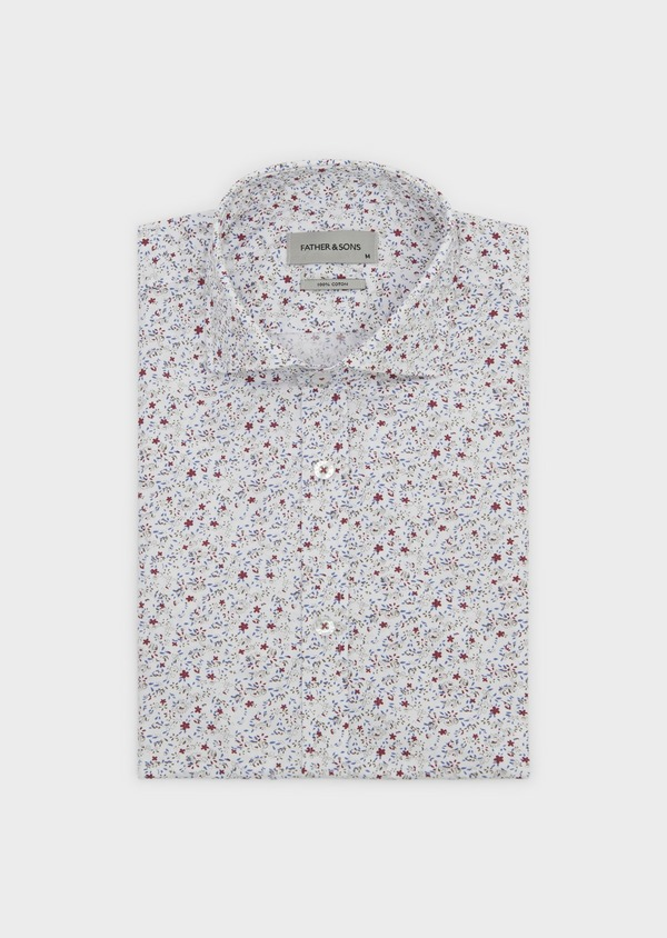 Chemise sport Slim en popeline de coton à motif feuri bleu et rose - Father and Sons 5623