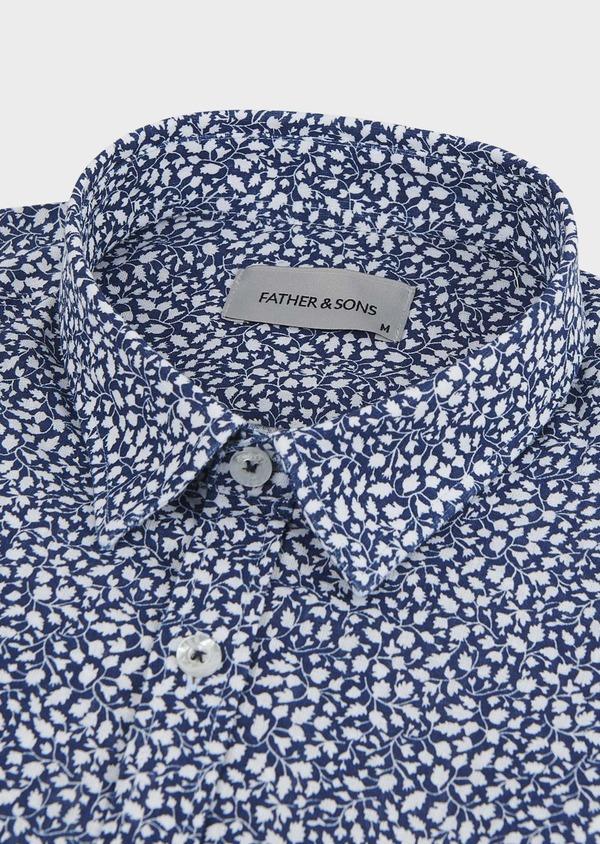 Chemise sport Slim en popeline de coton à motif feuri blanc - Father and Sons 5576