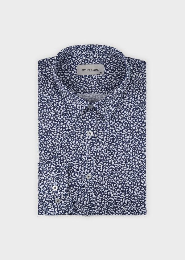 Chemise sport Slim en popeline de coton à motif feuri blanc - Father and Sons 5574