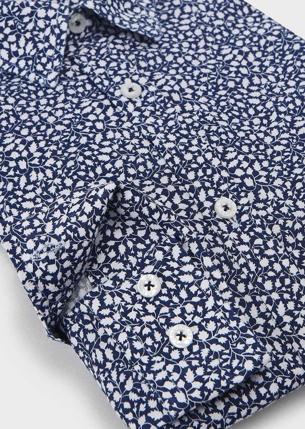 Chemise sport Slim en popeline de coton à motif feuri blanc - Father and Sons 5577