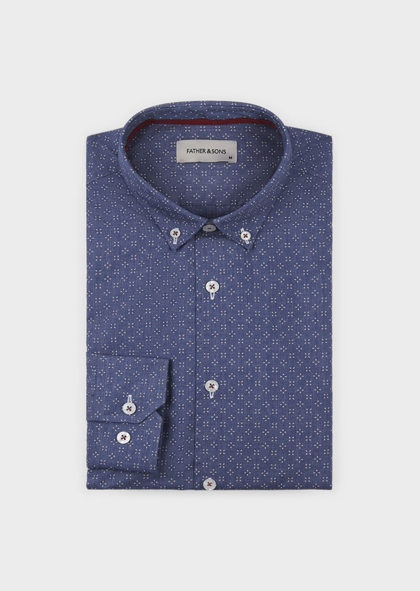 Chemise sport Slim en popeline de coton à motif feuri blanc et rouge - Father and Sons 5630