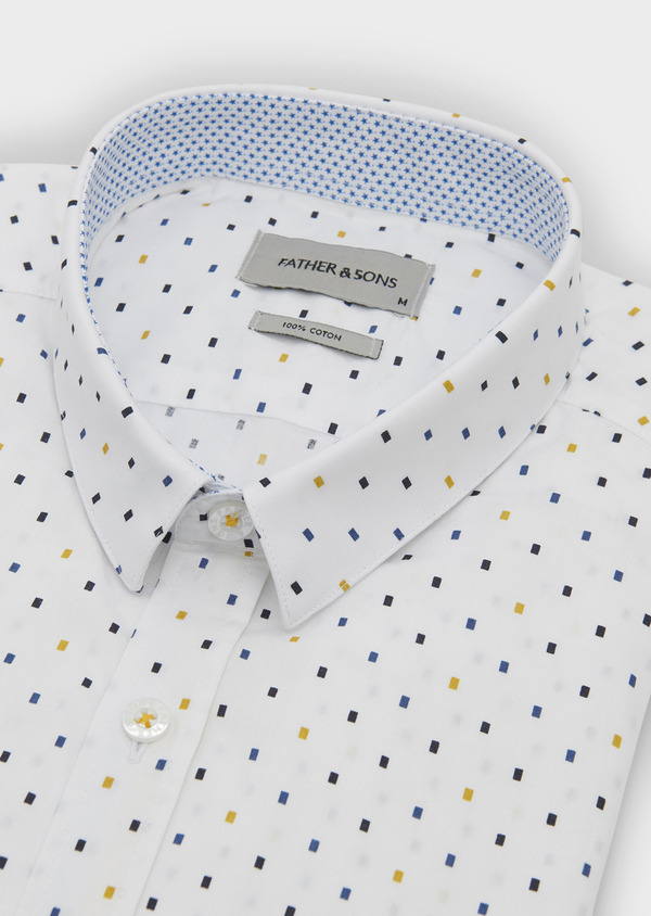Chemise sport Slim en popeline de coton à motifs rectangles bleu et jaune - Father and Sons 5618