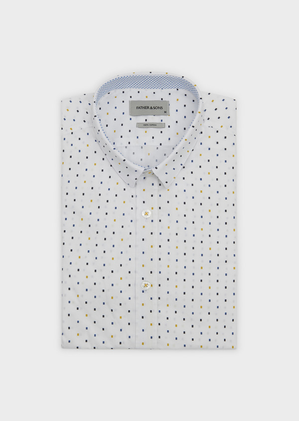 Chemise sport Slim en popeline de coton à motifs rectangles bleu et jaune - Father and Sons 5616