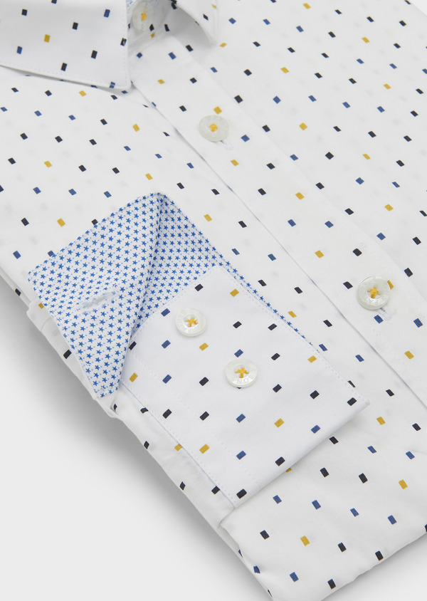 Chemise sport Slim en popeline de coton à motifs rectangles bleu et jaune - Father and Sons 5619