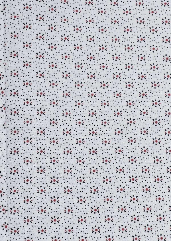 Chemise manches courtes Slim en popeline de coton blanche à motif fleuri - Father and Sons 5491
