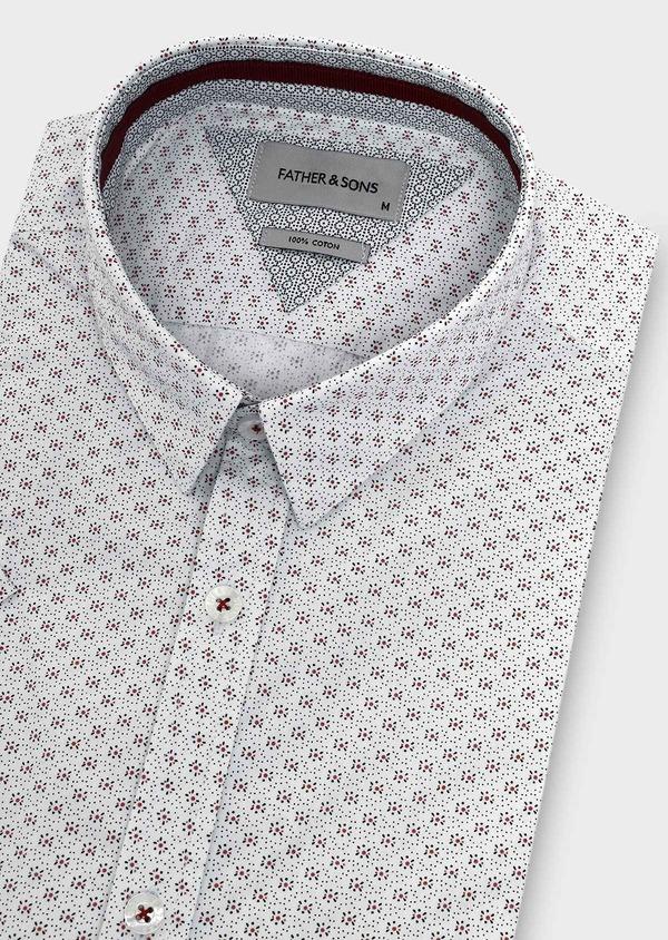 Chemise manches courtes Slim en popeline de coton blanche à motif fleuri - Father and Sons 5492