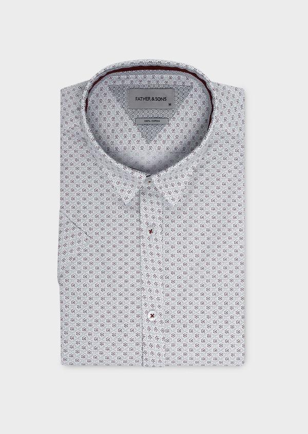Chemise manches courtes Slim en popeline de coton blanche à motif fleuri - Father and Sons 5490
