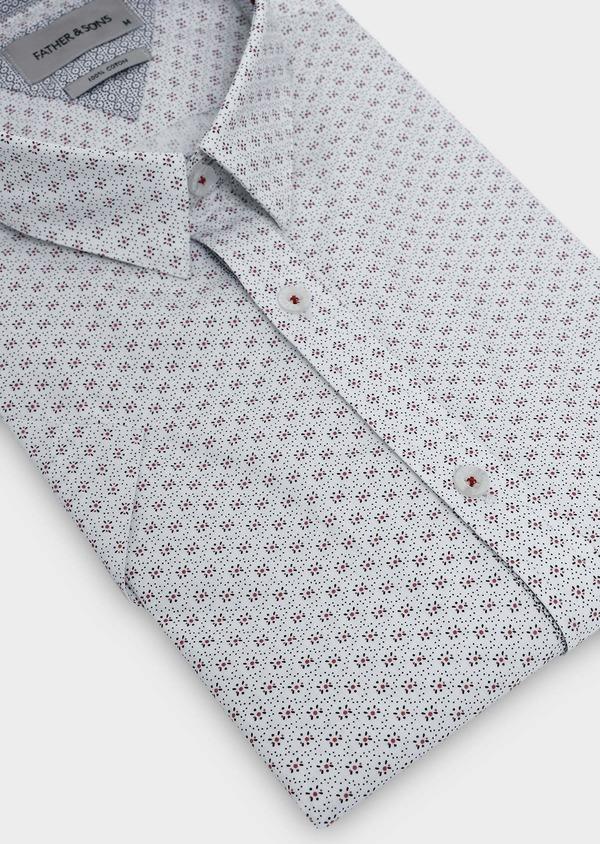Chemise manches courtes Slim en popeline de coton blanche à motif fleuri - Father and Sons 5493