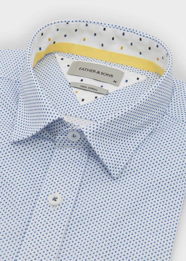 Chemise manches courtes Slim en popeline de coton à motifs étoiles bleues - Father and Sons 8067