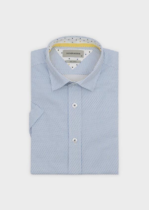 Chemise manches courtes Slim en popeline de coton à motifs étoiles bleues - Father and Sons 8065