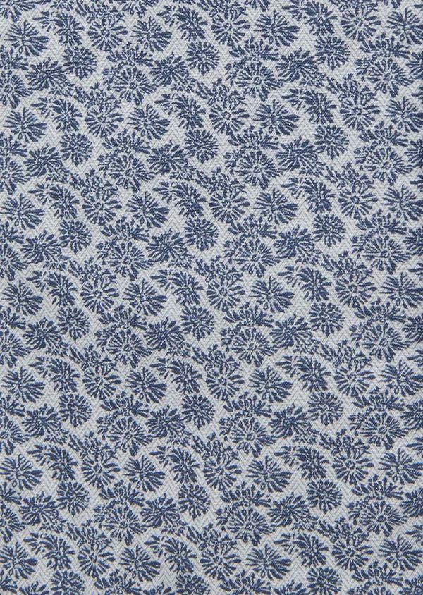 Chemise manches courtes Slim en popeline de coton à motif fleuri bleu - Father and Sons 8060