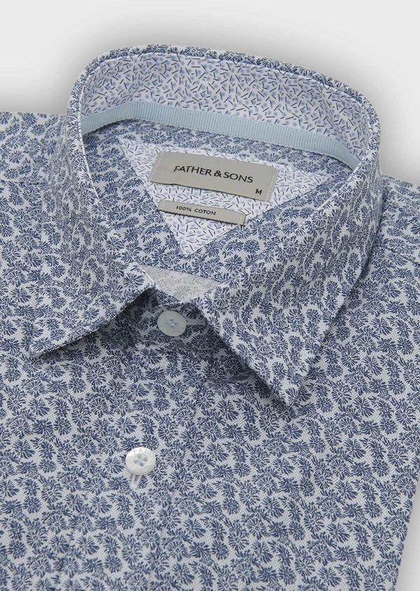 Chemise manches courtes Slim en popeline de coton à motif fleuri bleu - Father and Sons 8061