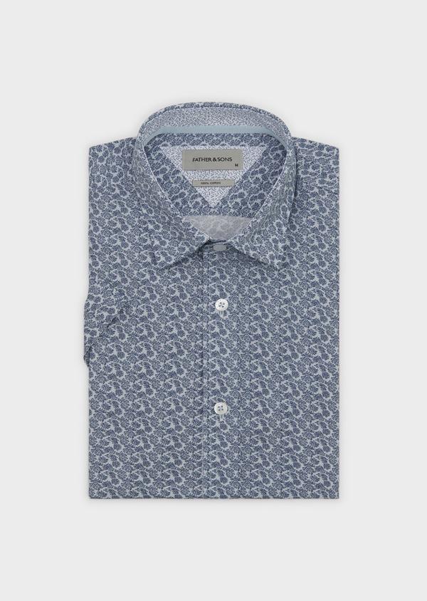 Chemise manches courtes Slim en popeline de coton à motif fleuri bleu - Father and Sons 8059
