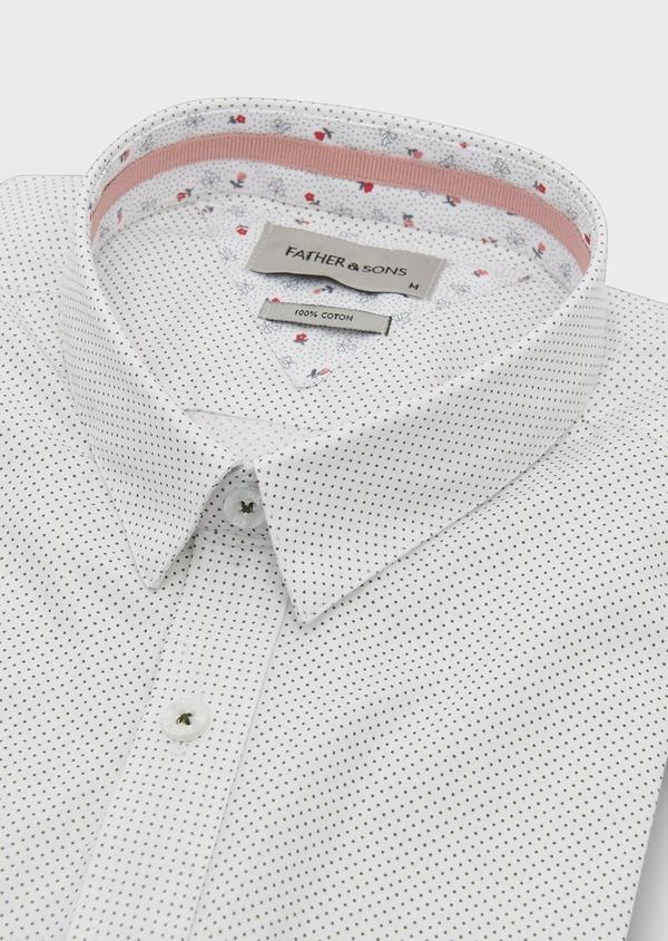 Chemise manches courtes Slim en popeline de coton à pois noir - Father and Sons 8055