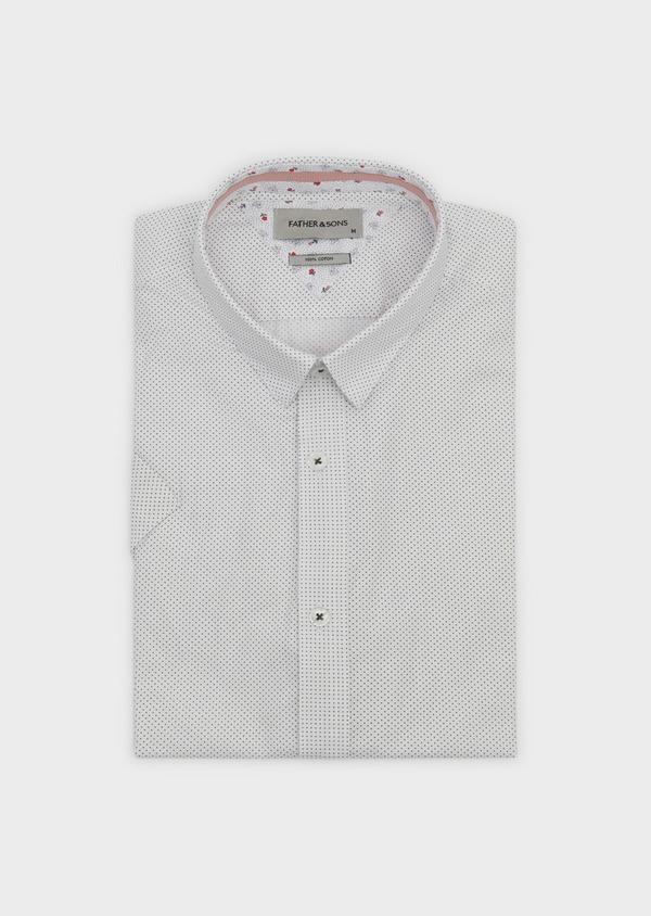 Chemise manches courtes Slim en popeline de coton à pois noir - Father and Sons 8053