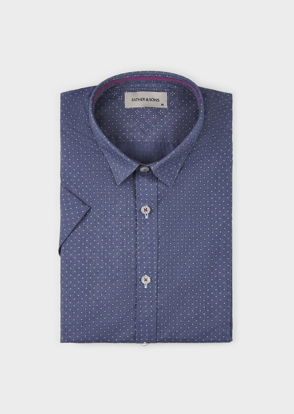 Chemise manches courtes Slim en popeline de coton à pois blancs - Father and Sons 8071