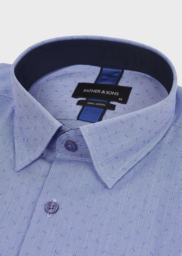 Chemise habillée Regular en coton à motifs bleus - Father and Sons 5128