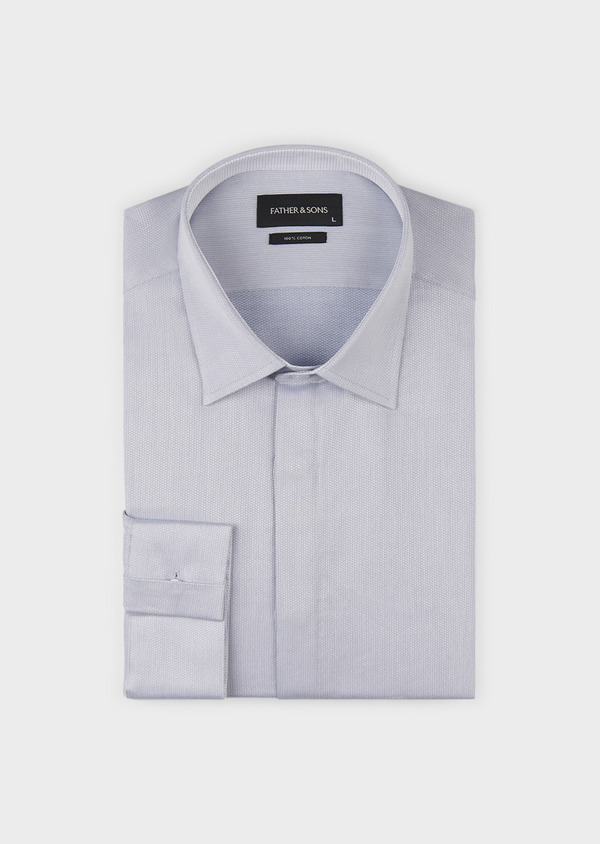 Chemise habillée Regular en coton uni gris - Father and Sons 5105