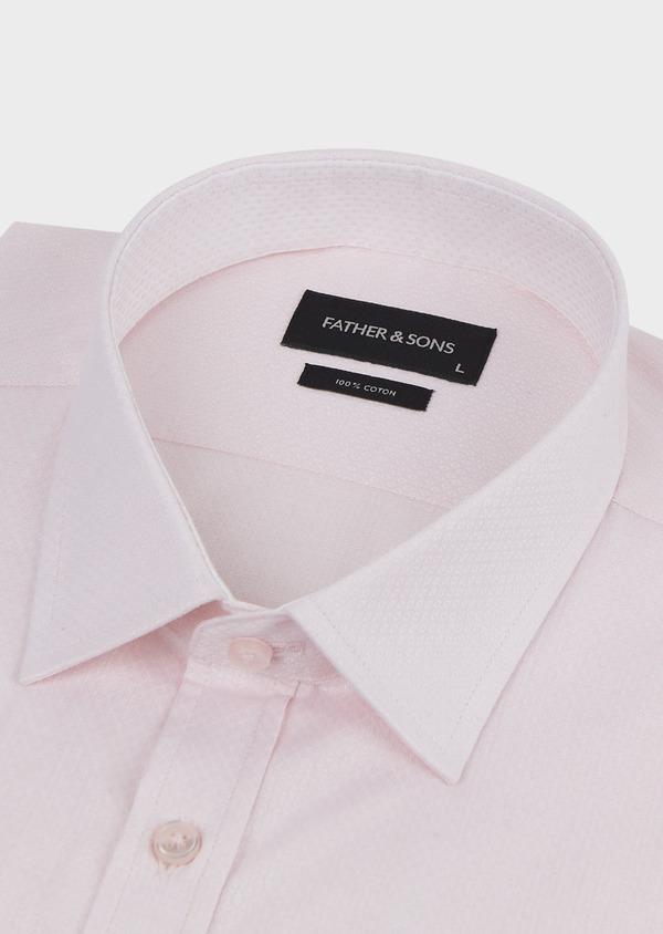 Chemise habillée Regular en façonné de coton uni rose pale - Father and Sons 5114