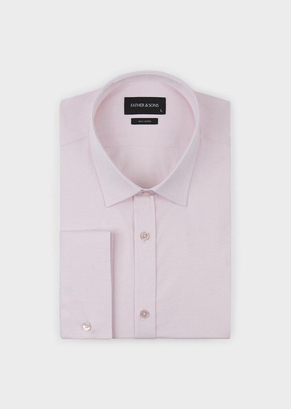 Chemise habillée Regular en façonné de coton uni rose pale - Father and Sons 5112