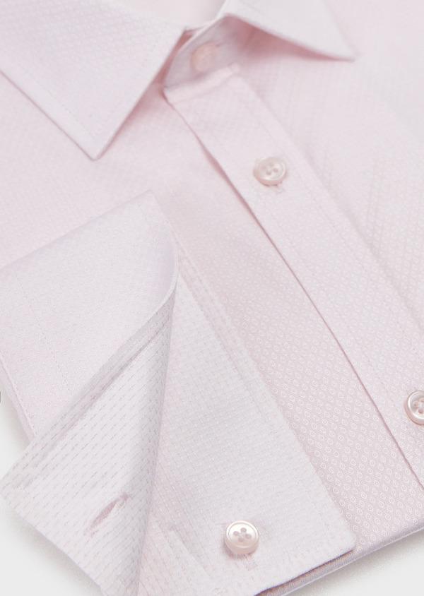 Chemise habillée Regular en façonné de coton uni rose pale - Father and Sons 5115