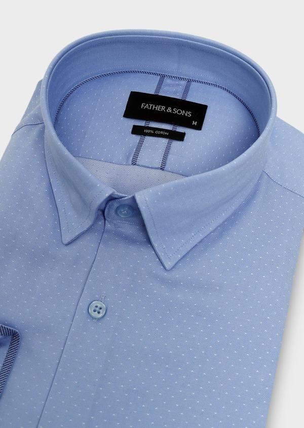 Chemise habillée Slim en coton tissé chevron à motifs bleus - Father and Sons 5408