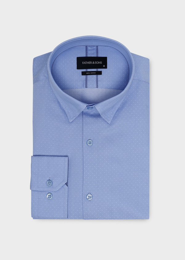 Chemise habillée Slim en coton tissé chevron à motifs bleus - Father and Sons 5406