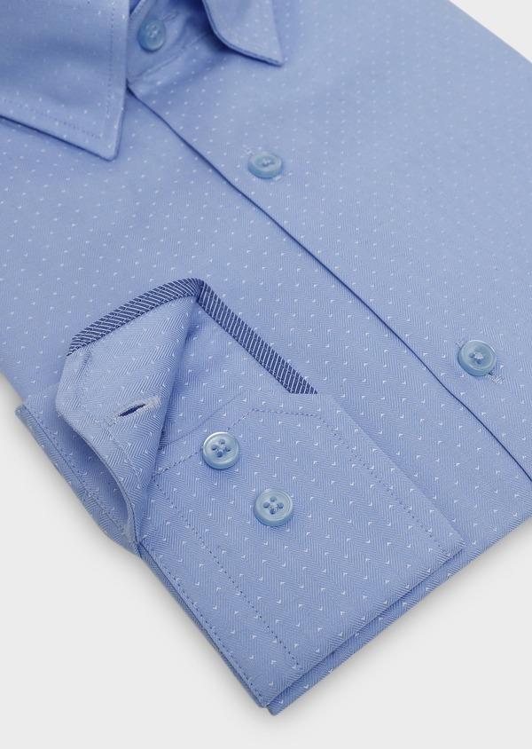 Chemise habillée Slim en coton tissé chevron à motifs bleus - Father and Sons 5409