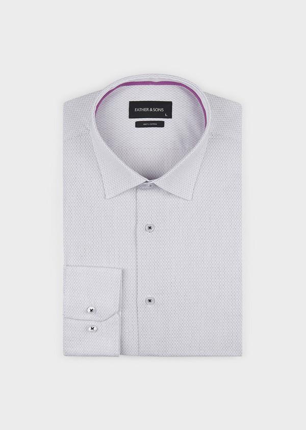Chemise habillée Slim en popeline de coton à pointillés noirs - Father and Sons 5189