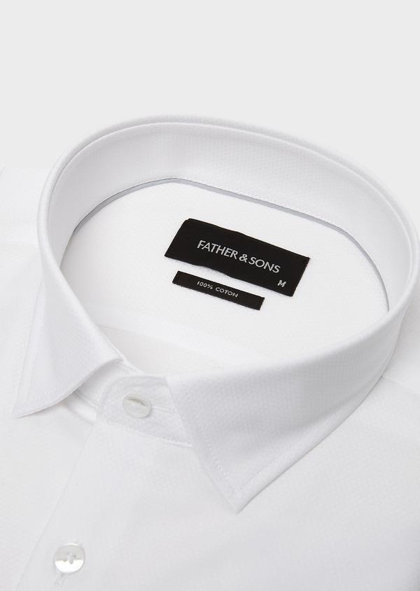 Chemise habillée Slim en coton façonné blanc à poignets mixtes et liseré gris - Father and Sons 5219