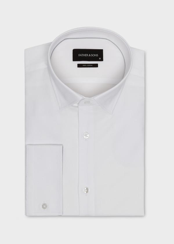 Chemise habillée Slim en coton façonné blanc à poignets mixtes et liseré gris - Father and Sons 5217