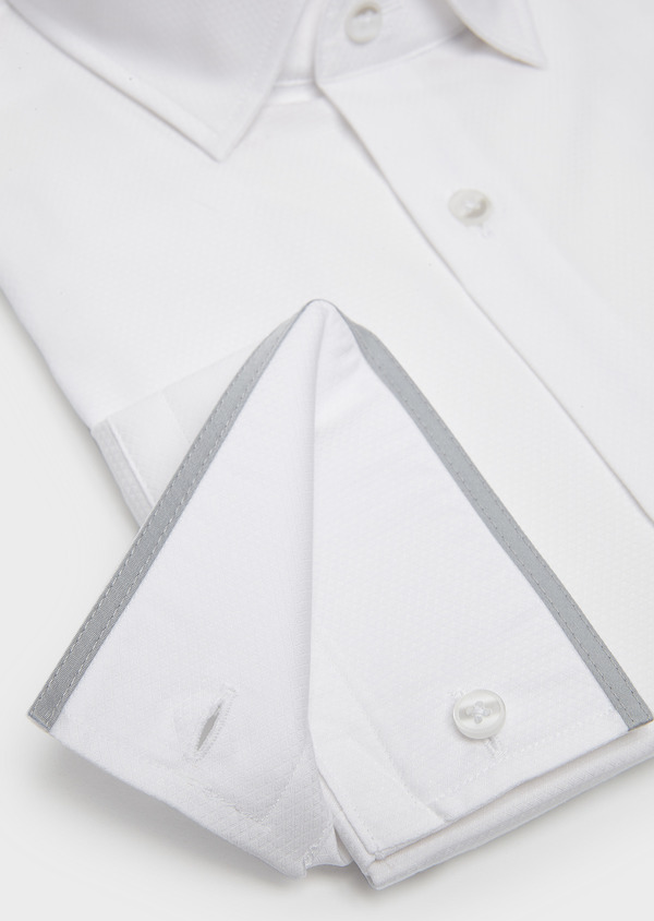 Chemise habillée Slim en coton façonné blanc à poignets mixtes et liseré gris - Father and Sons 5220