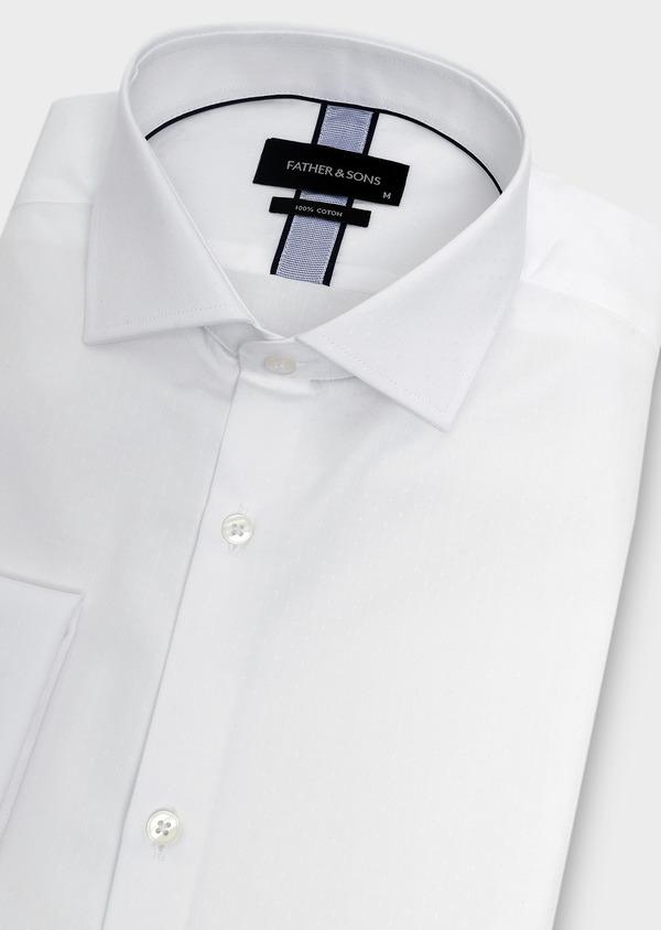 Chemise habillée Slim en coton façonné blanc à poignets mousquetaires - Father and Sons 5254