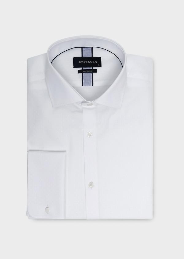 Chemise habillée Slim en coton façonné blanc à poignets mousquetaires - Father and Sons 5252