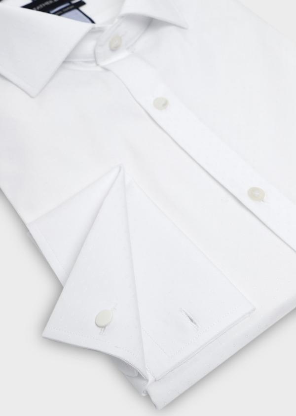 Chemise habillée Slim en coton façonné blanc à poignets mousquetaires - Father and Sons 5255