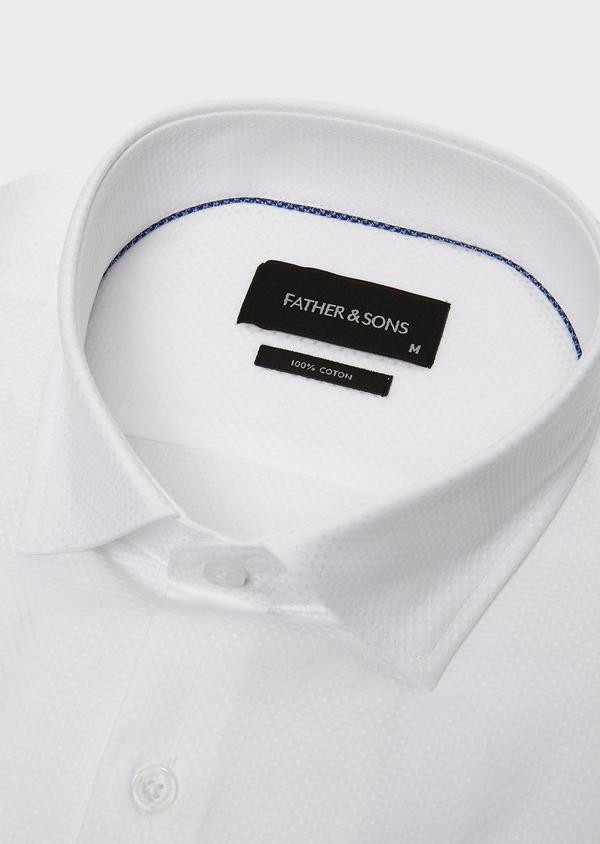 Chemise habillée Slim en coton façonné blanc à poignets-mixtes - Father and Sons 5261