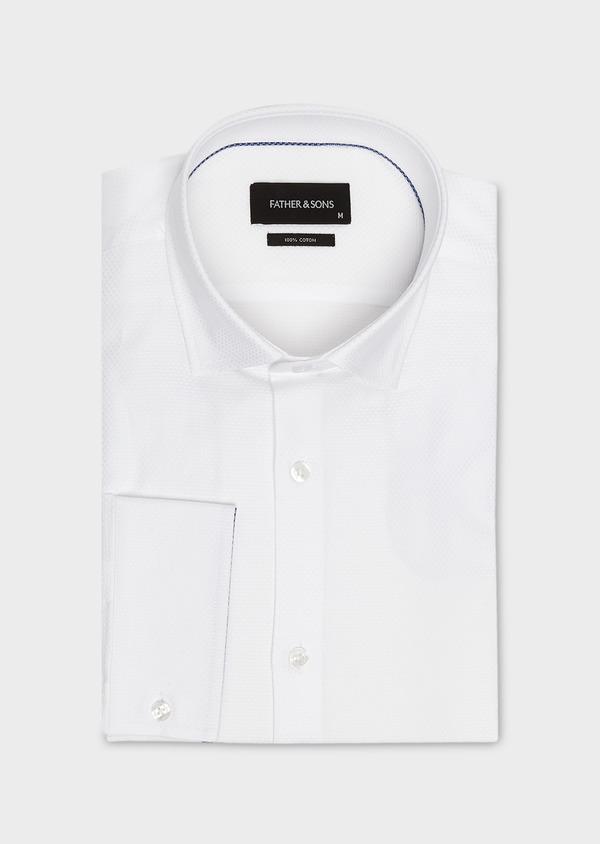 Chemise habillée Slim en coton façonné blanc à poignets-mixtes - Father and Sons 5259